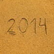 2014 written in sand on beach texture — 图库照片