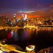 View of Singapore from roof Marina Bay Hotel in night — ストック写真