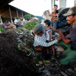 BALI, INDONESIA  APRIL 11: Poor from Java island working in a scavenging at the dump on April 11, 2012 on Bali, Indonesia. Bali daily produced 10,000 cubic meters of waste. — Photo