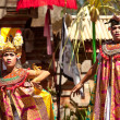 BALI, INDONESIA  APRIL 9: Balinese actors during a classic national Balinese dance formal wear on April 9, 2012 on Bali, Indonesia. formal wear is very popular cultural show on ball - Stock Photo