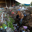 BALI, INDONESIA  APRIL 11: Poor from Java island working in a scavenging at the dump on April 11, 2012 on Bali, Indonesia. Bali daily produced 10,000 cubic meters of waste. — Foto de Stock