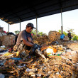 BALI, INDONESIA be- APRIL 11: Poor from Java island working in a scavenging at the dump on April 11, 2012 on Bali, Indonesia. Bali daily produced 10,000 cubic meters of waste. — Stock Photo #19419585