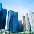Tall and modern skyscrapers in business district of the city of Singapore — Stock Photo