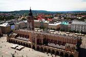 KRAKOW, POLAND - JULY 18: View of the Main Square - historical center of Krakow, May 18, 2012 in Krakow, Poland. — Stock Photo