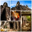 Collage, Angkor Wat - is the largest Hindu temple complex and the largest religious monument in the world. Cambodia. — Stok fotoğraf