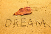 Texture on the sand: inscription Dream — Stock Photo
