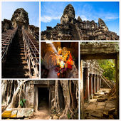Collage, Angkor Wat - is the largest Hindu temple complex and the largest religious monument in the world. Cambodia. — Stock Photo