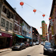 SINGAPORE - APRIL 16: Street scene in Singapore's Chinatown on April 16, 2012 in Singapore. — Photo