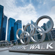 Olympic rings in Marina Bay - Stock Photo
