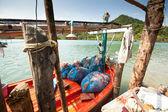 KO CHANG, THAILAND - JAN 31: Boats in the Salakphet fishing village, Jan 31, 2013 on Ko Chang, Thailand. — Stock Photo