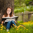 Stock Photo: A girl 11 years old reads a book in the meadow.