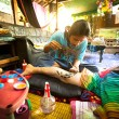 CHANG, THAILAND - DEC 24: Unidentified master makes traditional tattoo bamboo, Dec 24, 2012 in Chang, Thailand. — Stock Photo