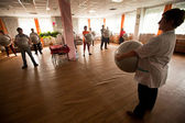 PODPOROZHYE, RUSSIA - JULY 5: Day of Health in Center of social services for pensioners and disabled Otrada. — Photo