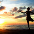 Young woman practicing yoga on the beach during the sunset — Stock Photo #20452469