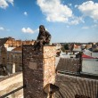LVIV, UKRAINE - AUG 6: Chimneysweep monument is on the roof of a historic building House of Legends on Aug 6, 2012 in Lviv, Ukraine — ストック写真