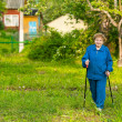 Active old woman nordic walking outdoors (85 years) — Stock Photo #21174613