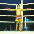 CHANG, THAILAND - FEB 22: Unidentified young Muaythai fighter in ring during match, Feb 22, 2013 on Chang, Thailand - Stock Photo
