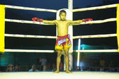 CHANG, THAILAND - FEB 22: Unidentified young Muaythai fighter in ring during match, Feb 22, 2013 on Chang, Thailand — Photo