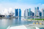 SINGAPORE - APRIL 15: A view of city in Marina Bay business district on April 15, 2012 on Singapore — Foto Stock
