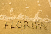 Florida - written in sand on beach texture - soft wave of the sea. — Stock Photo