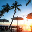 ストック写真: Sunset at beach resort in tropics