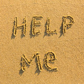 Help me - Inscription on the sand — Stock Photo