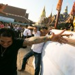 Unidentified participants Master Day Ceremony during the Wai Kroo at Wat Bang Pra in Nakhon Chai, Thailand — Stock Photo