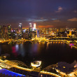 A view of city from roof Marina Bay Hotel in night on Singapore - Stock Photo