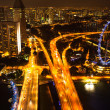 A view of city from roof Marina Bay Hotel in night on Singapore — Stockfoto
