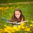 Teengirl reads a book in the meadow — Stok fotoğraf