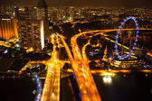A view of city from roof Marina Bay Hotel in night on Singapore — Foto Stock