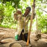 BERDUT, MALAYSIA - APR 8: Unidentified woman Orang Asli thresh rice to remove chaff on Apr 8, 2013 in Berdut, Malaysia. — Stock Photo #24617445