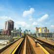 KUALA LUMPUR, MALAYSIA - APR 4: View of the city from Kelana Jaya Line on April 4, 2013 in Kuala Lumpur. Today KJL carries over 190,000 passengers a day and over 350,000 a day during national events. — Stock Photo