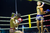 CHANG, THAILAND - FEB 22: Unidentified Muay Thai fighters compete in an amateur kickboxing match, Feb 22, 2013 on Chang, Thailand. Muay Thai practiced over 120000 fans and nearly 10000 professionals. — Stockfoto