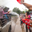 KO CHANG, THAILAND - APR 13: celebrated Songkran Festival, on 13 Apr 2013 on Ko Chang, Thailand. Songkran is celebrated in Thailand as the traditional New Year by throwing water at each other. — Stock Photo #24688931