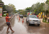 KO CHANG, THAILAND - APR 13: celebrated Songkran Festival, on 13 Apr 2013 on Ko Chang, Thailand. Songkran is celebrated in Thailand as the traditional New Year by throwing water at each other. — Stock Photo