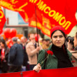 MOSCOW - MAY 1: Communist party supporters take part in a rally marking the May Day, May 1, 2013 in Moscow, Russia — Foto de Stock