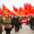 MOSCOW - MAY 1: Communist party supporters take part in a rally marking the May Day, May 1, 2013 in Moscow, Russia — Stock Photo #24787007