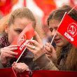 MOSCOW - MAY 1: Communist party supporters take part in a rally marking the May Day, May 1, 2013 in Moscow, Russia — ストック写真