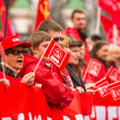Stock Photo: MOSCOW - MAY 1: Communist party supporters take part in rally marking May Day, May 1, 2013 in Moscow, Russia