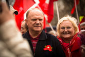 MOSCOW - MAY 1: Gennady Zyuganov (is a Russian politician, First Secretary of the Communist Party of the Russian Federation) during procession of May Day on May 1, 2013 in Moscow, Russia — Stock Photo