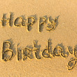Inscription Happy Birthday on texture of sand. — Stock Photo
