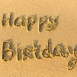 Stock Photo: Inscription Happy Birthday on texture of sand.