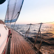Stock Photo: Sailing regattin Greece, during sunset.