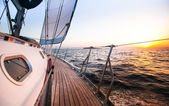 Sailing regatta in Greece, during sunset. — Stock Photo
