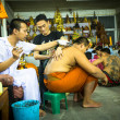 Traditional Yantra tattooing in Thailand — Stock Photo