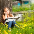 Girl in park with a book — Stock Photo