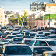 Stok fotoğraf: Cars stands in traffic jam in Moscow.