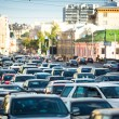 Stock Photo: Cars stands in traffic jam in Moscow.