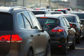 Cars stands in traffic jam — Foto Stock